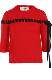 Пуловер с укороченным рукавом и контрастной лентой Fendi