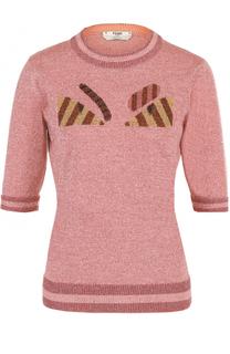 Пуловер с укороченным рукавом и металлизированной нитью Fendi