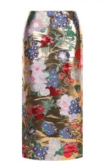 Шелковая юбка с металлизированной отделкой и цветочным принтом Valentino