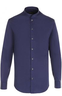 Хлопковая рубашка с воротником-стойкой Armani Collezioni