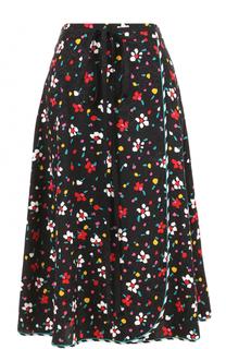 Шелковая юбка-миди с принтом Marc Jacobs