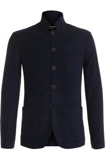 Однобортный пиджак из смеси вискозы и шерсти Giorgio Armani