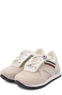 Комбинированные кроссовки с декоративной шнуровкой на застежках велькро Moncler Enfant