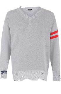 Хлопковый пуловер с декоративными потертостями Diesel