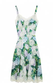 Приталенное платье с цветочным принтом и кружевной отделкой Dolce & Gabbana