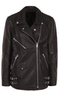 Кожаная куртка прямого кроя с косой молнией Alexander Wang