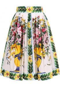 Хлопковая юбка-миди с ярким принтом Dolce & Gabbana
