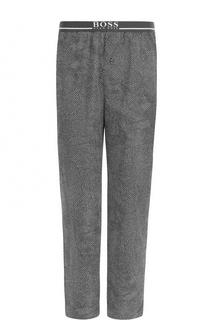 Хлопковые домашние брюки с широкой резинкой BOSS
