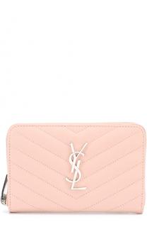 Кожаное портмоне на молнии с логотипом бренда Saint Laurent
