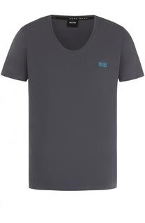 Хлопковая футболка с глубоким вырезом BOSS