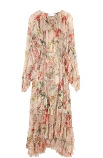Платье-миди с цветочным принтом и оборками Zimmermann