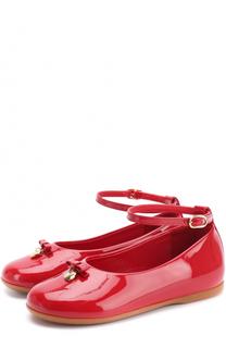 Лаковые туфли с бантом и ремешком на щиколотке Dolce & Gabbana
