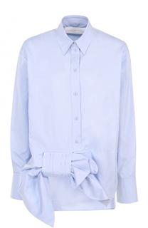 Хлопковая блуза прямого кроя с бантом Victoria by Victoria Beckham