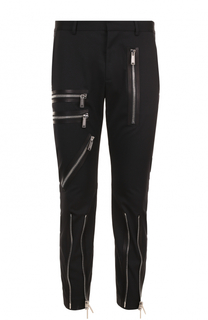 Шерстяные укороченные брюки с декоративными молниями Dsquared2