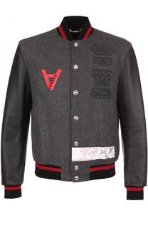 Шерстяной бомбер на кнопках с кожаными рукавами Versace