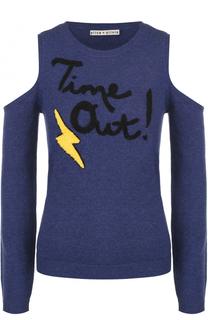Пуловер с открытыми плечами и контрастной отделкой Alice + Olivia