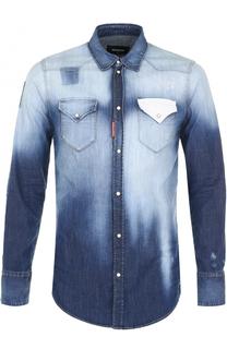 Джинсовая рубашка  контрастной отделкой Dsquared2