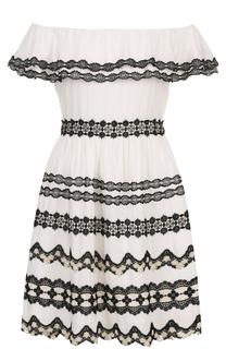 Мини-платье с кружевной отделкой и открытыми плечами Alice + Olivia
