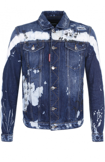 Джинсовая куртка с контрастной отделкой и надписями Dsquared2
