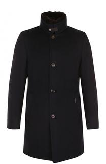 Шерстяное пуховое пальто с меховой отделкой воротника Moorer