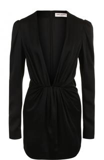 Приталенное мини-платье с глубоким V-образным вырезом Saint Laurent
