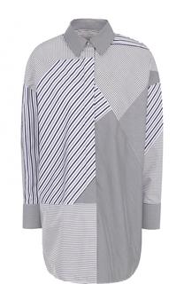 Удлиненная блуза свободного кроя в полоску Victoria by Victoria Beckham