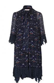 Мини-платье свободного кроя с воротником аскот See by Chloé