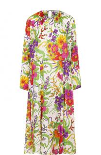 Шелковое платье с цветочным принтом и высоким разрезом Balenciaga