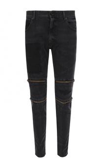 Зауженные джинсы с декоративными молниями Just Cavalli
