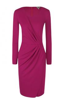 Платье-миди с драпировкой и длинным рукавом Armani Collezioni