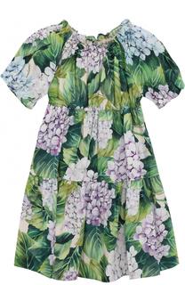 Хлопковый комплект из платья с цветочным принтом и трусов Dolce & Gabbana