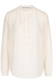 Прямая шелковая блуза с воротником-стойкой Stella McCartney