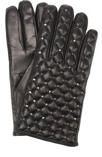 Кожаные перчатки с металлизированной отделкой Valentino
