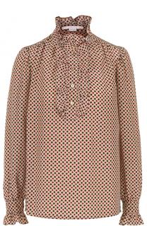 Шелковая блуза с оборками и принтом Stella McCartney