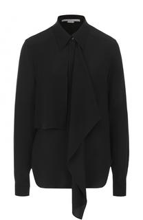 Шелковая блуза прямого кроя с оборкой Stella McCartney