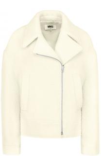 Шерстяная куртка свободного кроя с косой молнией Mm6