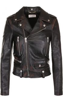 Кожаная куртка с косой молнией и принтом на спинке Saint Laurent