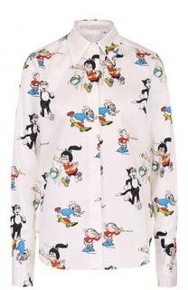 Хлопковая блуза прямого кроя с принтом Stella McCartney