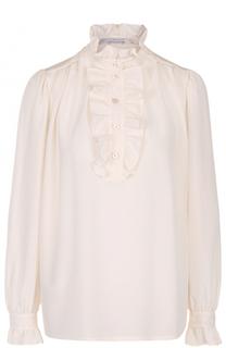 Шелковая блуза с оборками и воротником-стойкой Stella McCartney