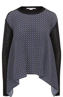 Пуловер свободного кроя с шелковой вставкой Stella McCartney