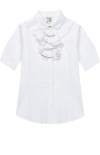 Хлопковая блуза прямого кроя с оборками и декоративной отделкой Aletta