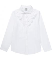 Хлопковая блуза прямого кроя с оборками и бантом Aletta