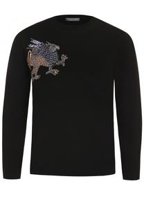 Пуловер с укороченным рукавом и контрастной вышивкой Alexander McQueen