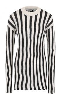 Удлиненный пуловер в полоску с круглым вырезом Helmut Lang