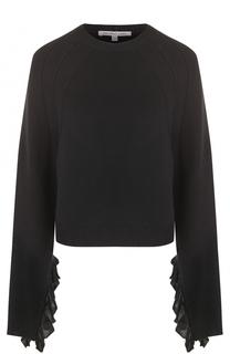 Пуловер свободного кроя с кружевной отделкой рукавов Helmut Lang