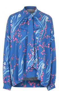 Блуза свободного кроя с принтом и воротником аскот Balenciaga