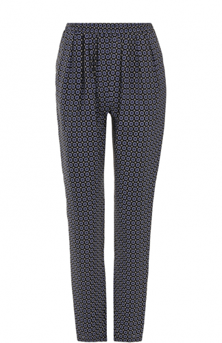 Шелковые брюки с принтом и защипами Stella McCartney