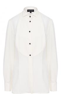 Приталенная шелковая блуза с планкой Giorgio Armani