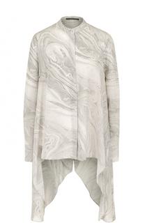 Шелковая блуза асимметричного кроя с принтом Alexander McQueen