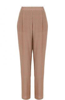 Шелковые брюки-бананы с принтом и защипами Stella McCartney